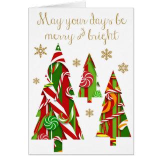 Süßigkeits-Weihnachtsbäume u. Goldschneeflocken Karte