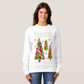 Süßigkeits-Weihnachtsbäume u. Goldschneeflocken Sweatshirt