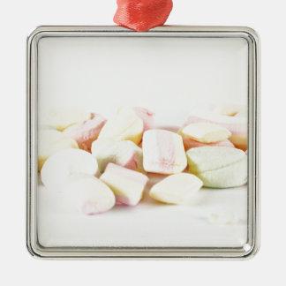 Süßigkeitseibische Quadratisches Silberfarbenes Ornament