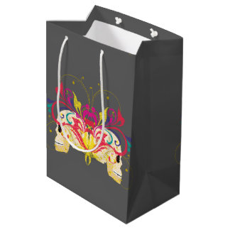 Süßigkeitsschädel, mit Blumen, Mandalaart Mittlere Geschenktüte