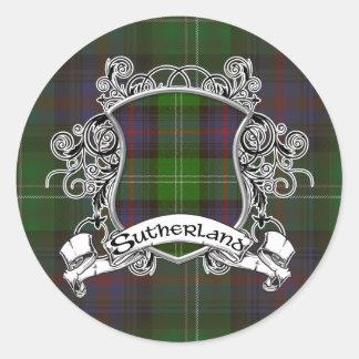 Sutherlandtartan-Schild Runder Aufkleber