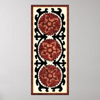 Suzani Art-dekoratives Blumenmuster Poster
