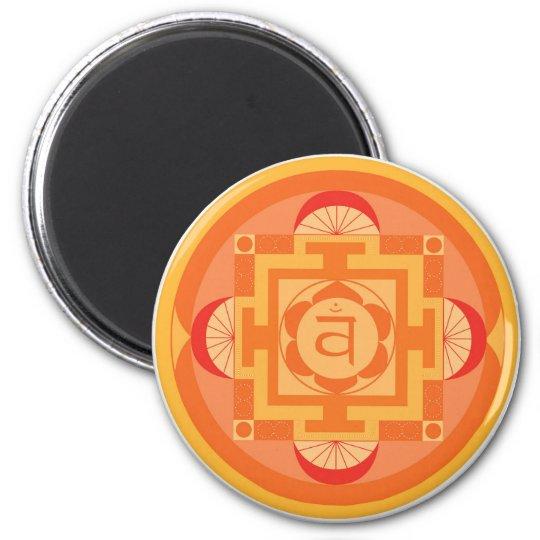 Svādhisthāna Chakra Mandala Runder Magnet 5,7 Cm
