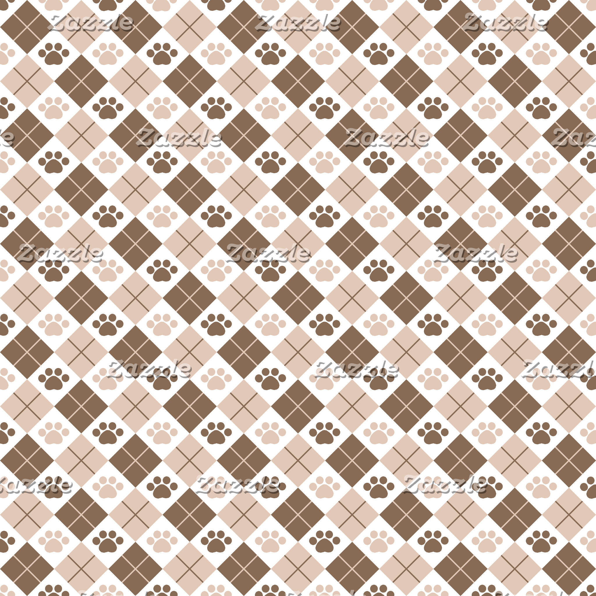 Argyle Paw Print Patterns