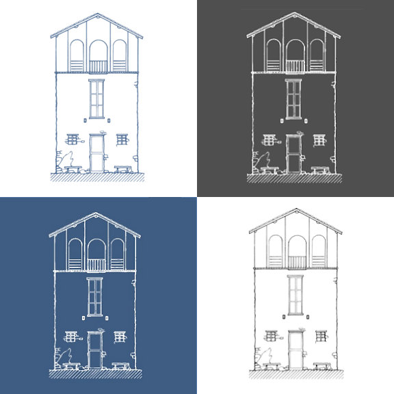 Simple Rustic House Drawing
