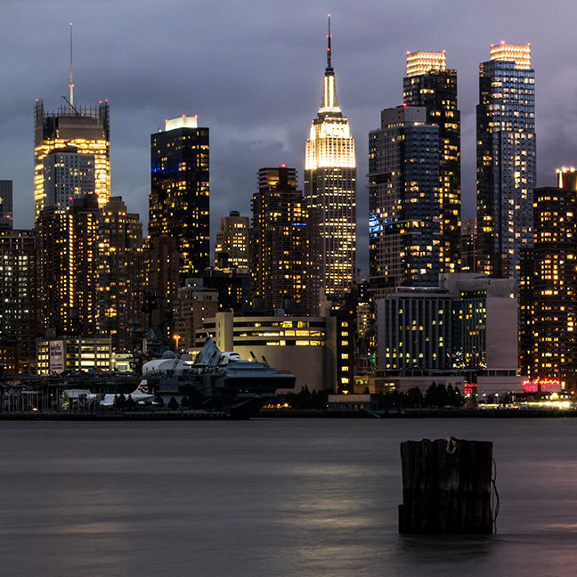 Early evening panoramic view of Manhattan