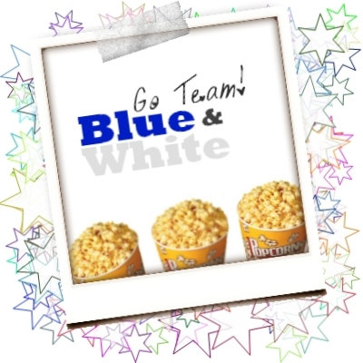 F. Blue and White