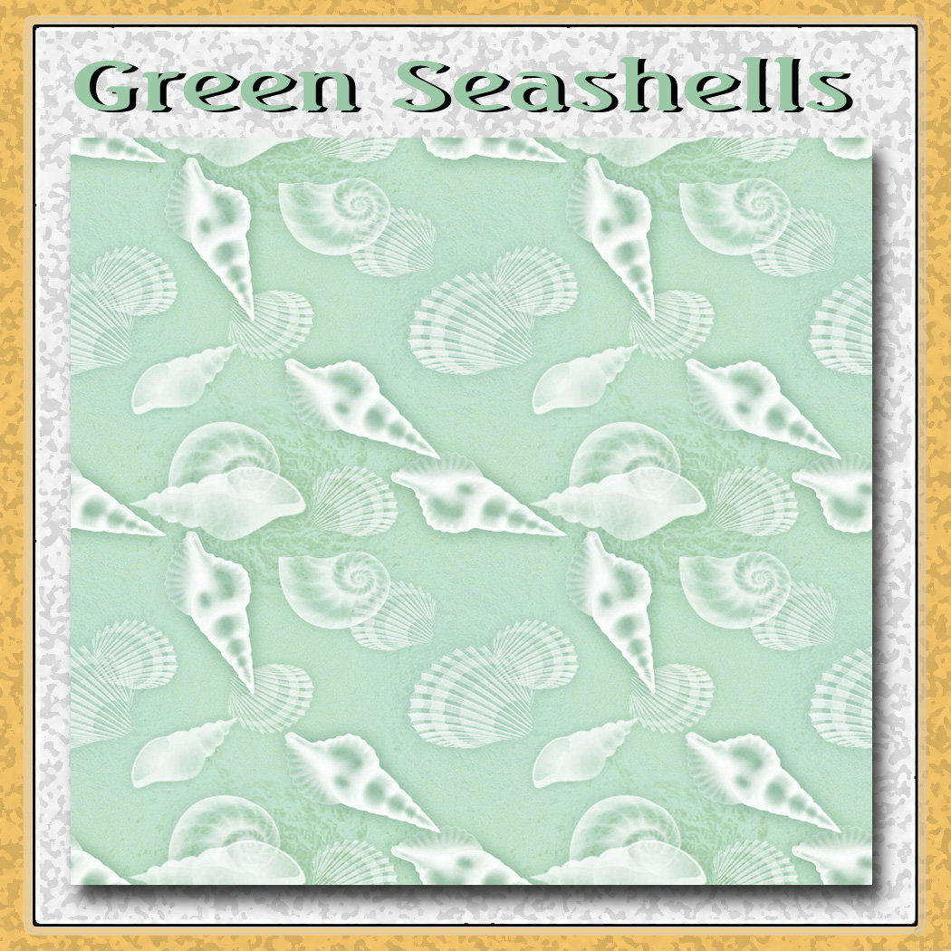 Seafoam Green Seashells Pattern