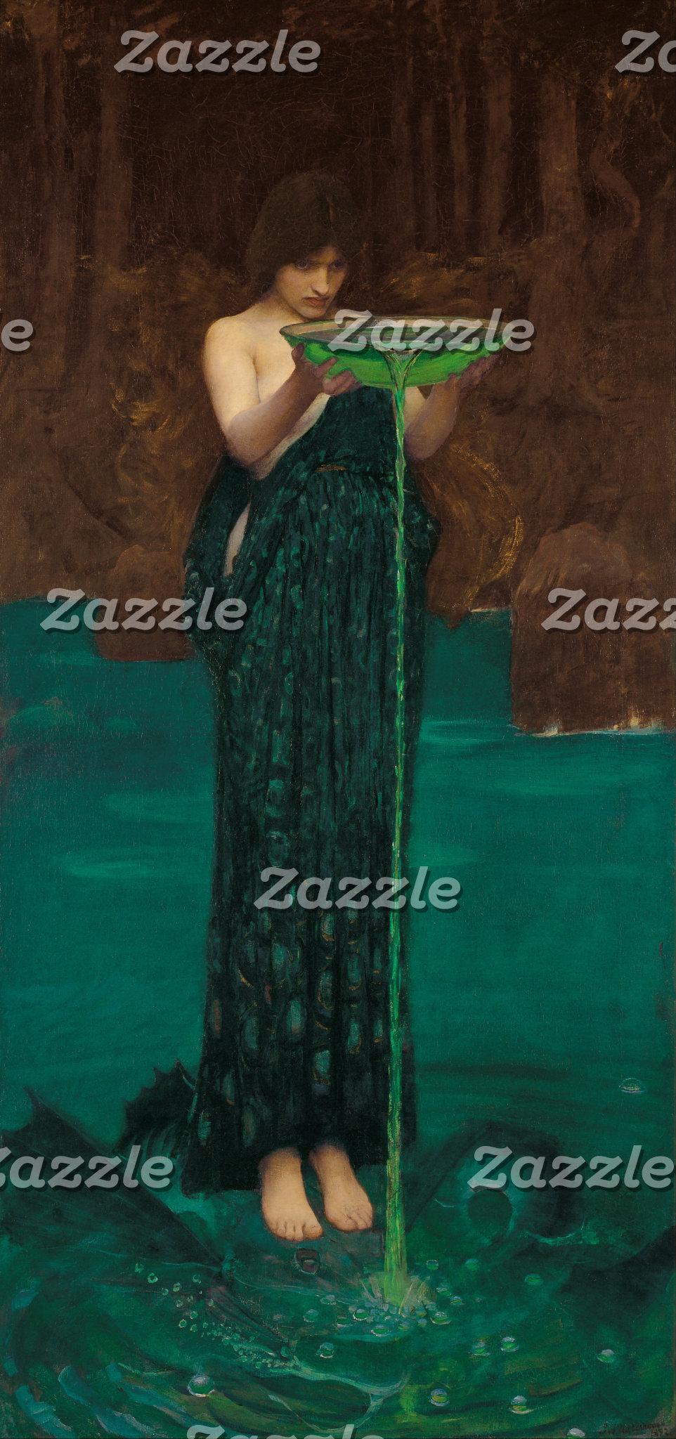 Art nouveau lady in peacock dress
