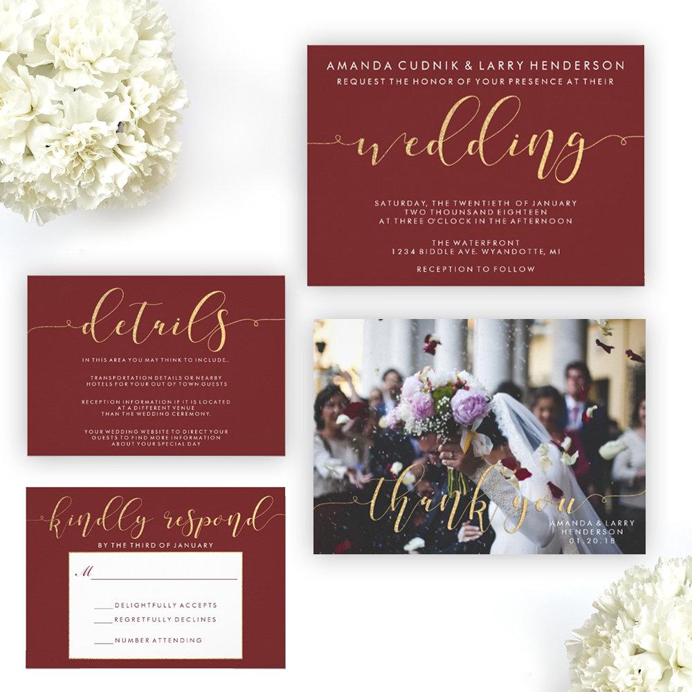 Fancy Burgundy & Gold Typography Wedding Suite