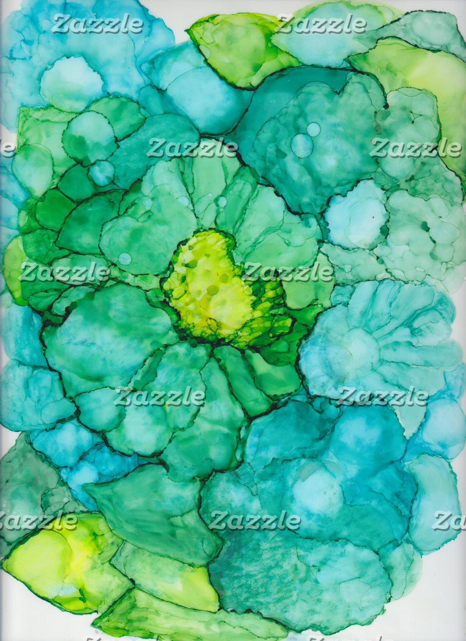 Blue-Green Flower Design