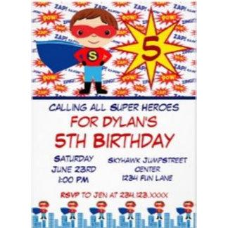 Superhero Kids Birthday Party Invitations