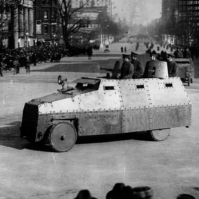 27th March 1917:  The armoured vehicle squadron