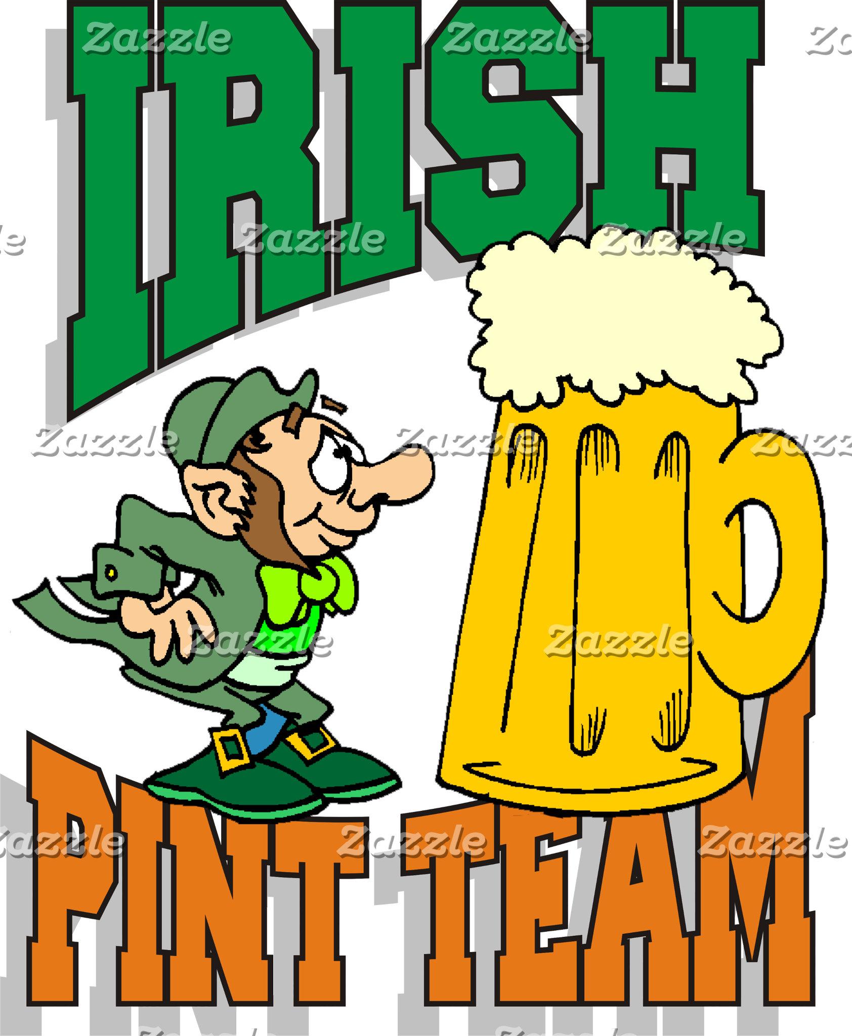 Funny Irish Pint Team T-Shirts Gifts Cards