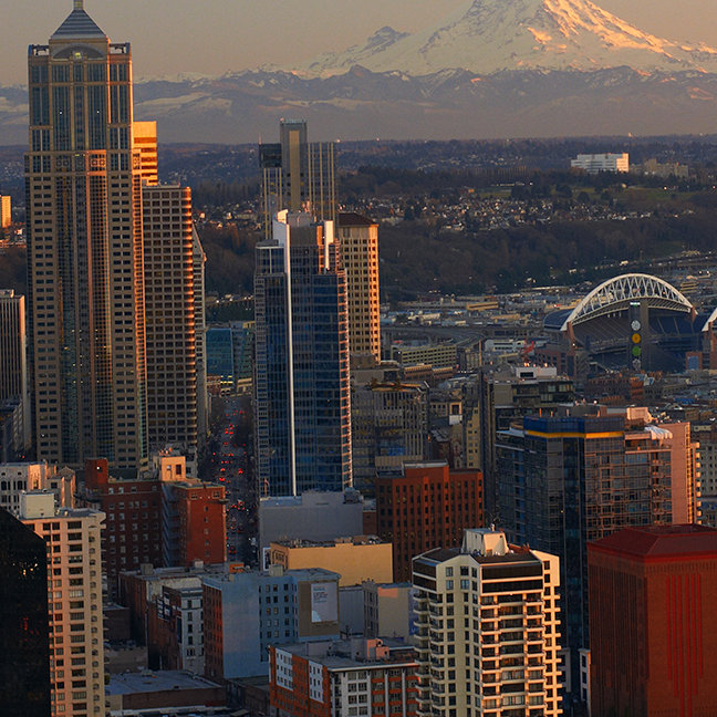 Aerial view of Seattle city skyline
