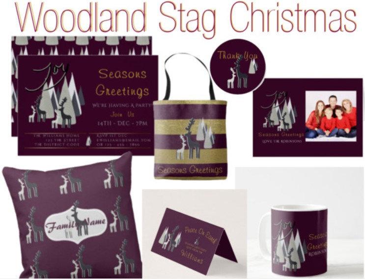 Aubergine Stag Christmas