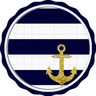 Gold anchor nautical stripes