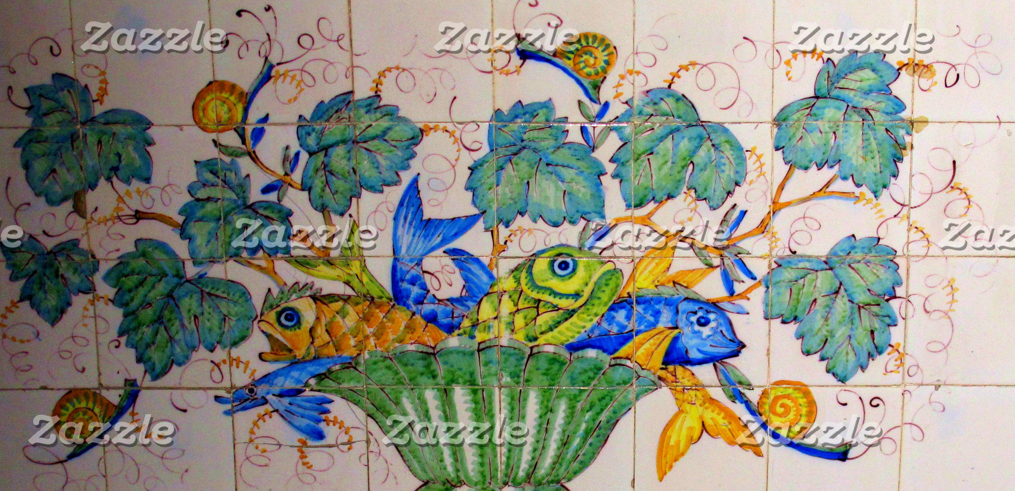 Portuguese Tiles Fish Design 17th century