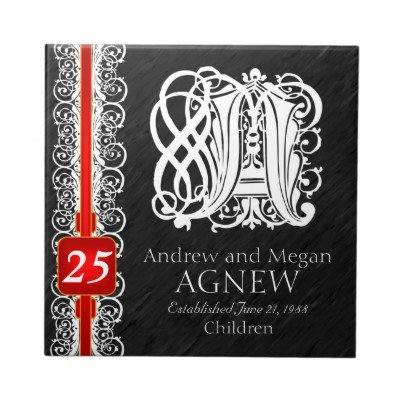 A-Z White Lace Anniversary Tiles