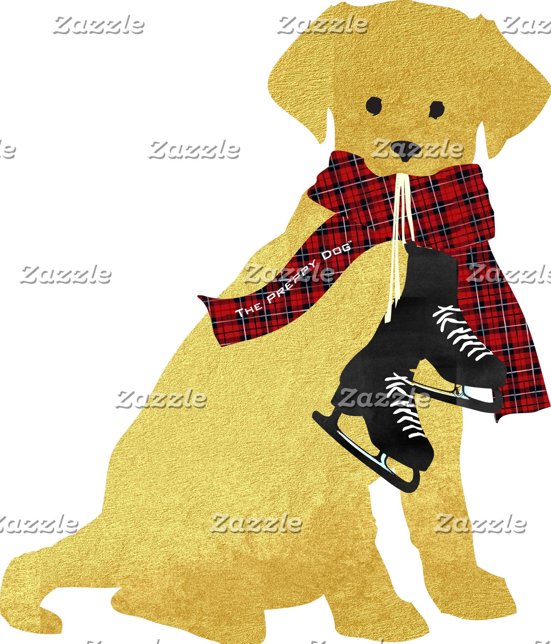 Preppy Retriever Dog Ice Skates