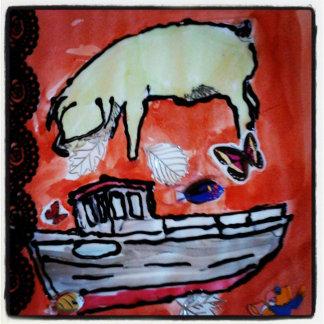 Schwein im Boot