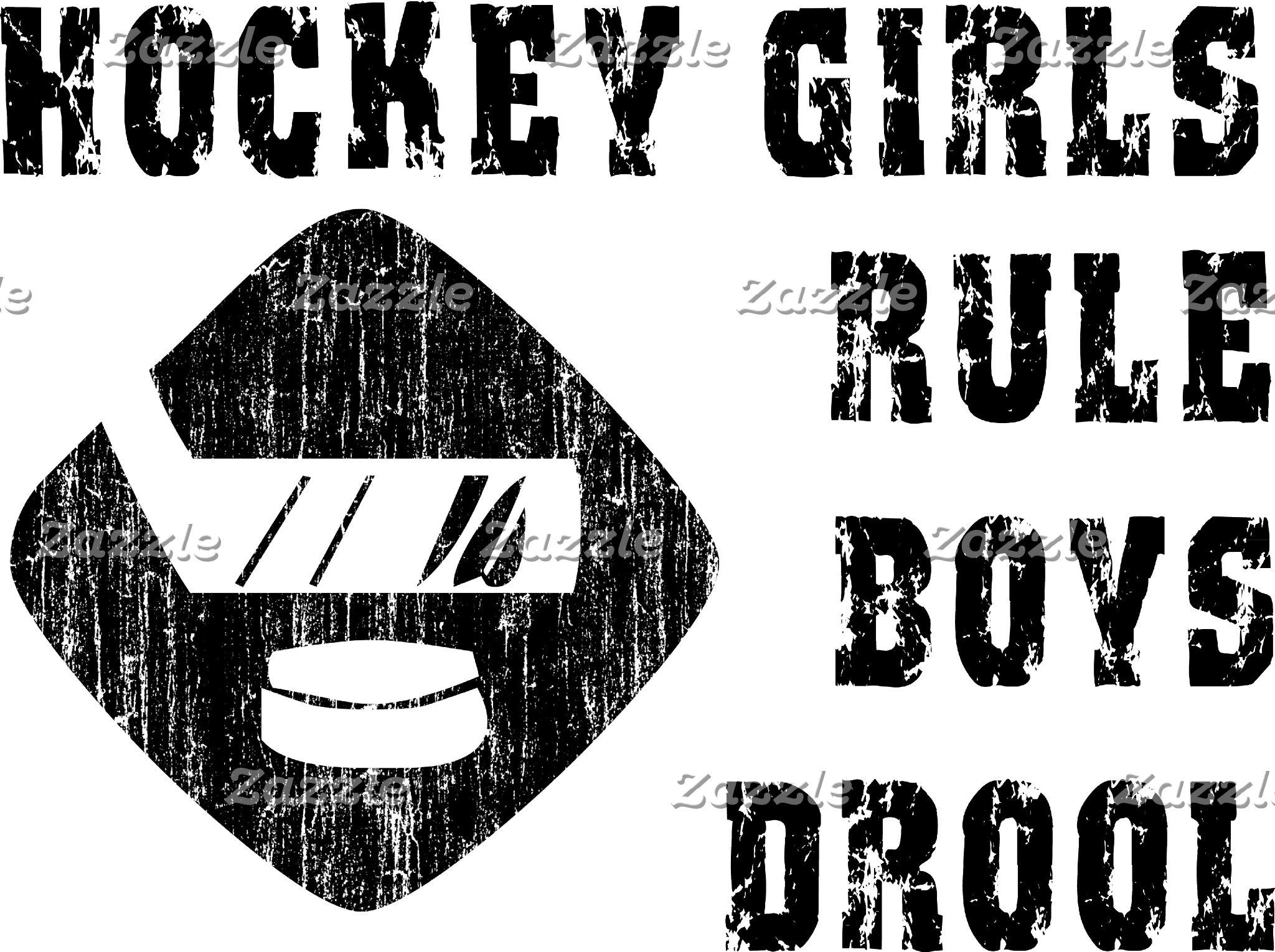 Funny Hockey Girls Rule Boys Drool T-Shirt