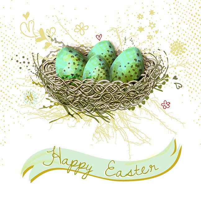 Happy Easter! - Birds nest with colorful eggs