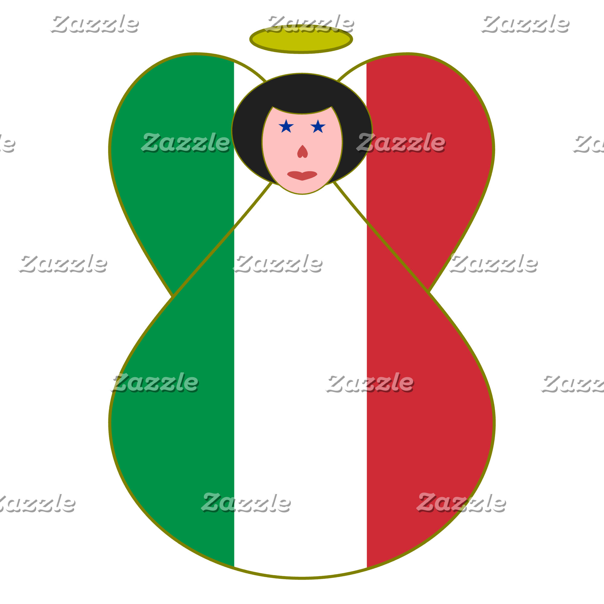 Angel of the Italian Flag Black Hair