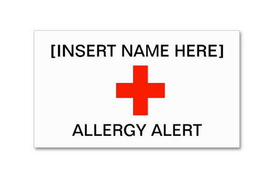 Allergy Alert Cards