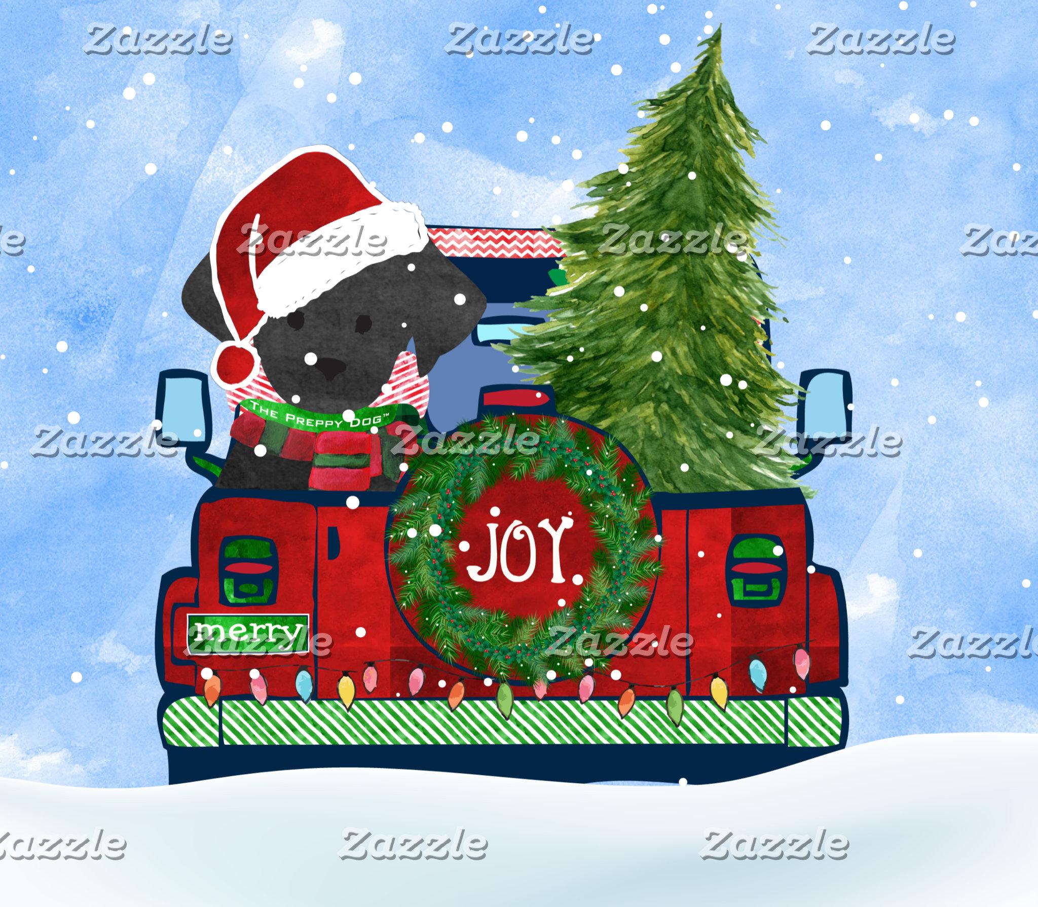 Christmas Jeep Black Labs