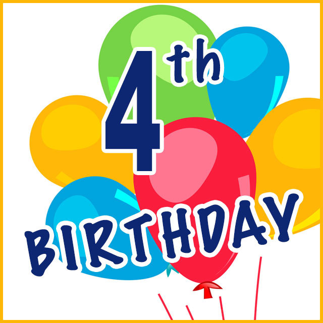 4th Birthday T-shirts, Gifts and Party Supplies