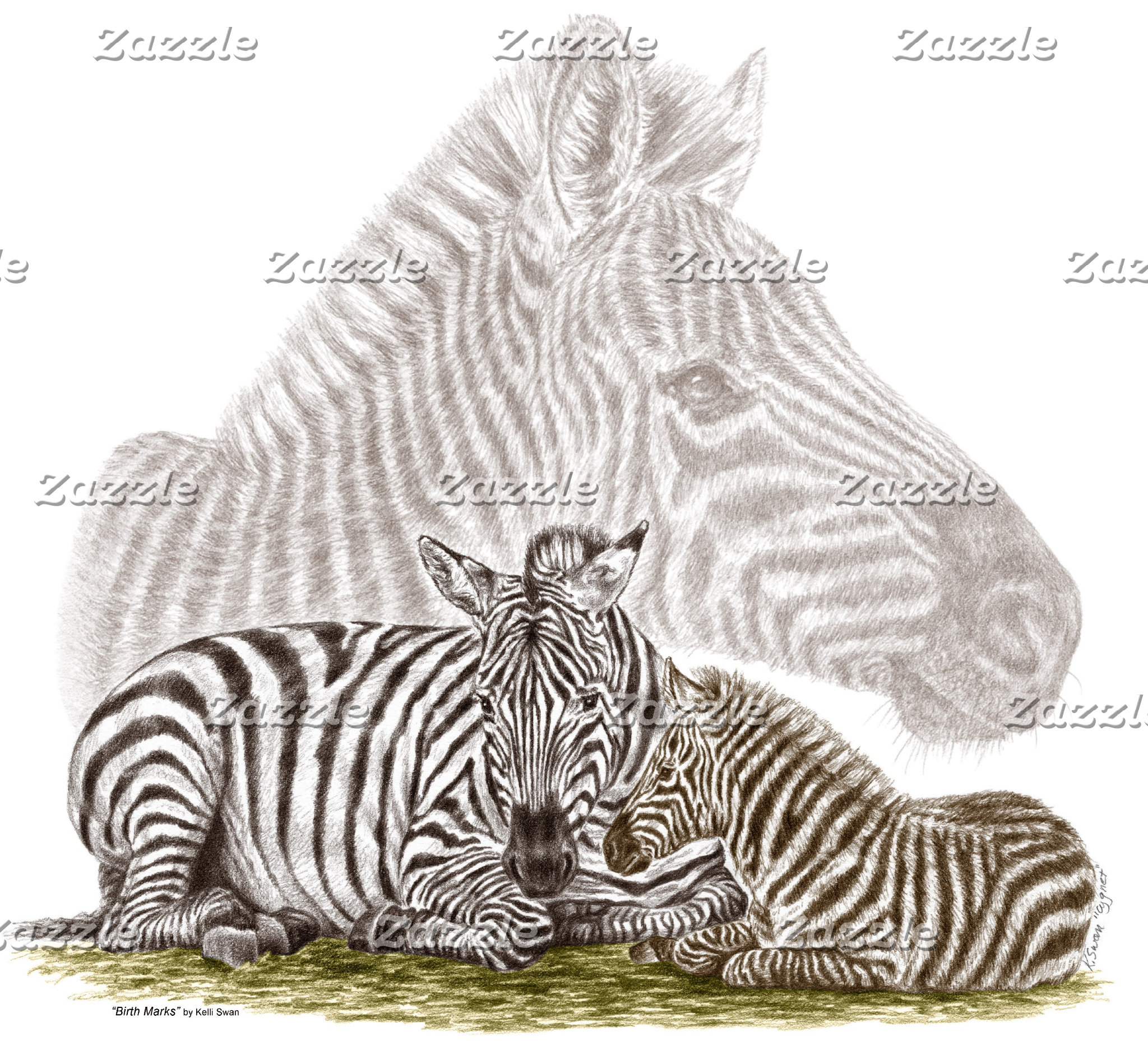 Zebra Mom and Baby Art