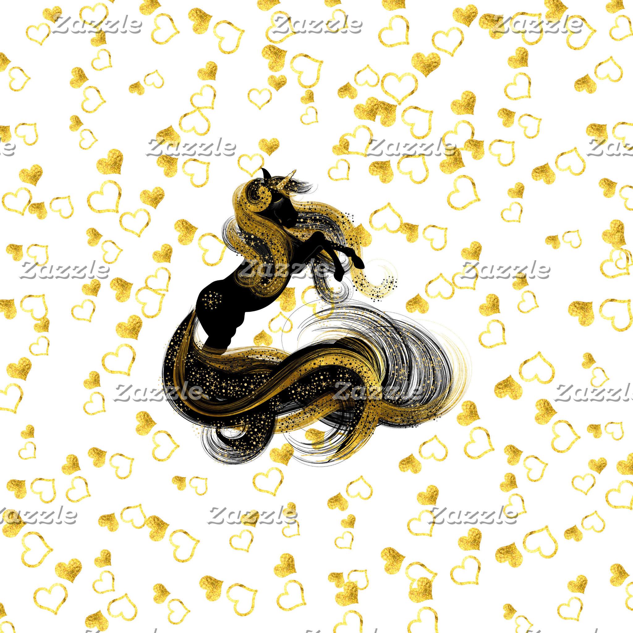 Gold & Black Magical Unicorns
