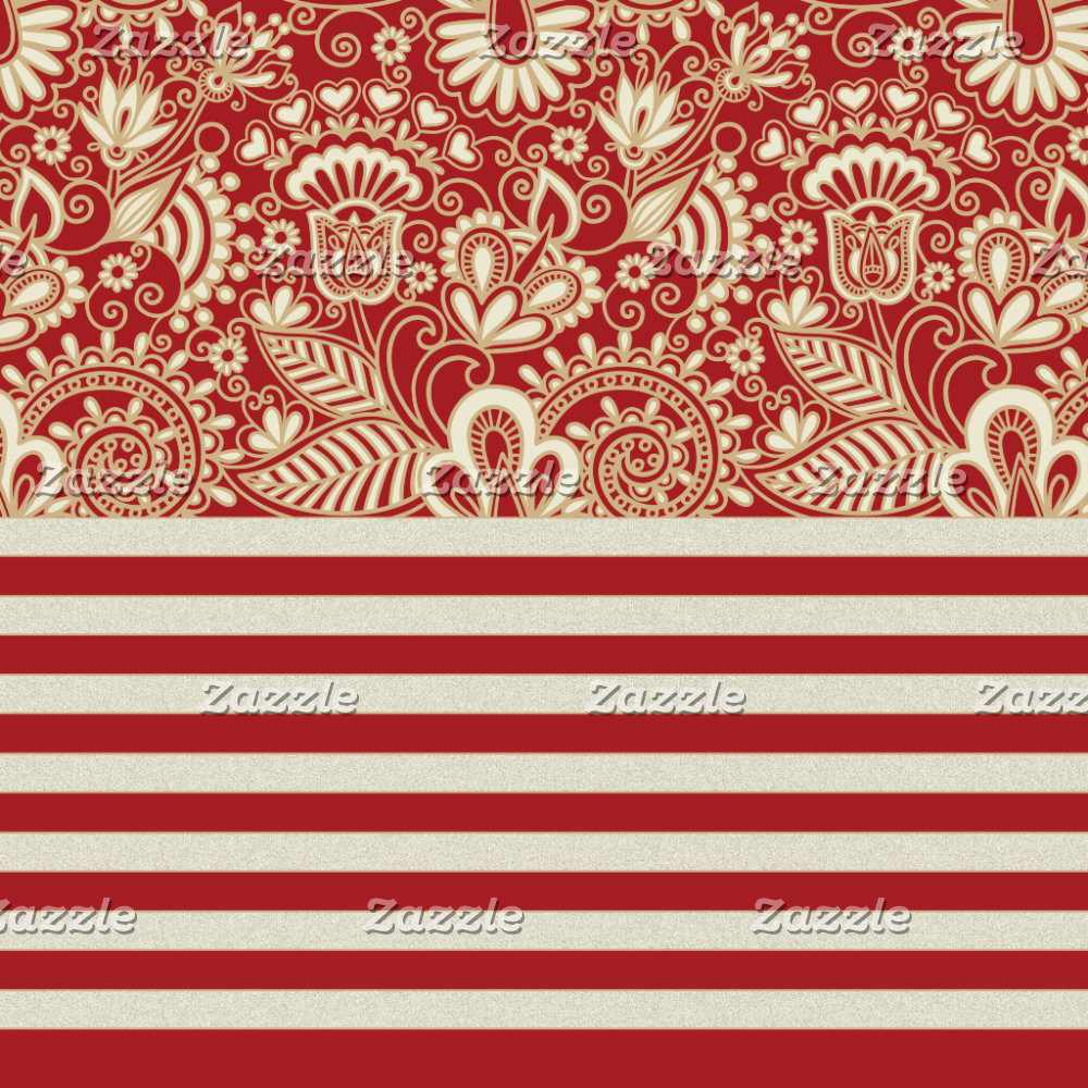 beige red terracotta stripes floral pattern