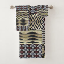 African Pattern and Print Bath Towel Sets