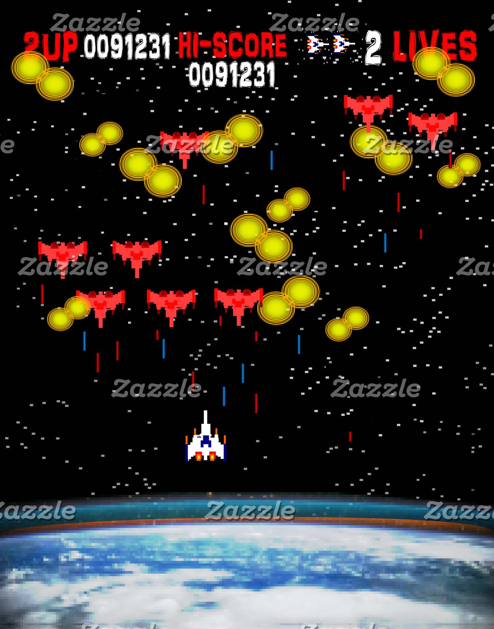 Retro 80s Style Earth and Space Fight Video Game