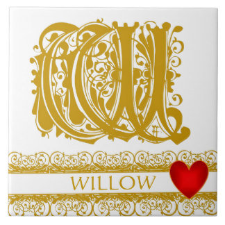 A-Z Gold Lace Red Heart