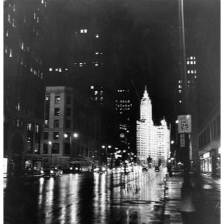 circa 1954:  A view down Michigan Avenue