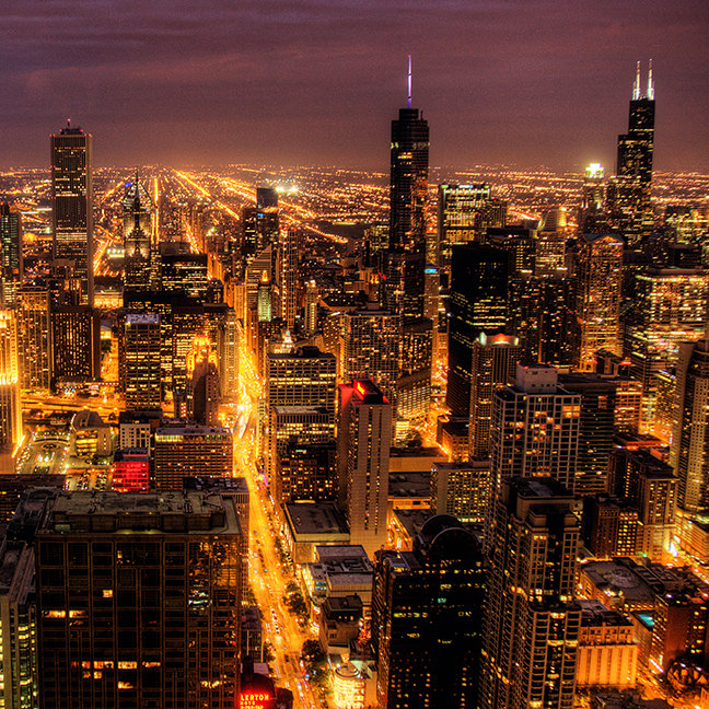 Night cityscape of Chicago