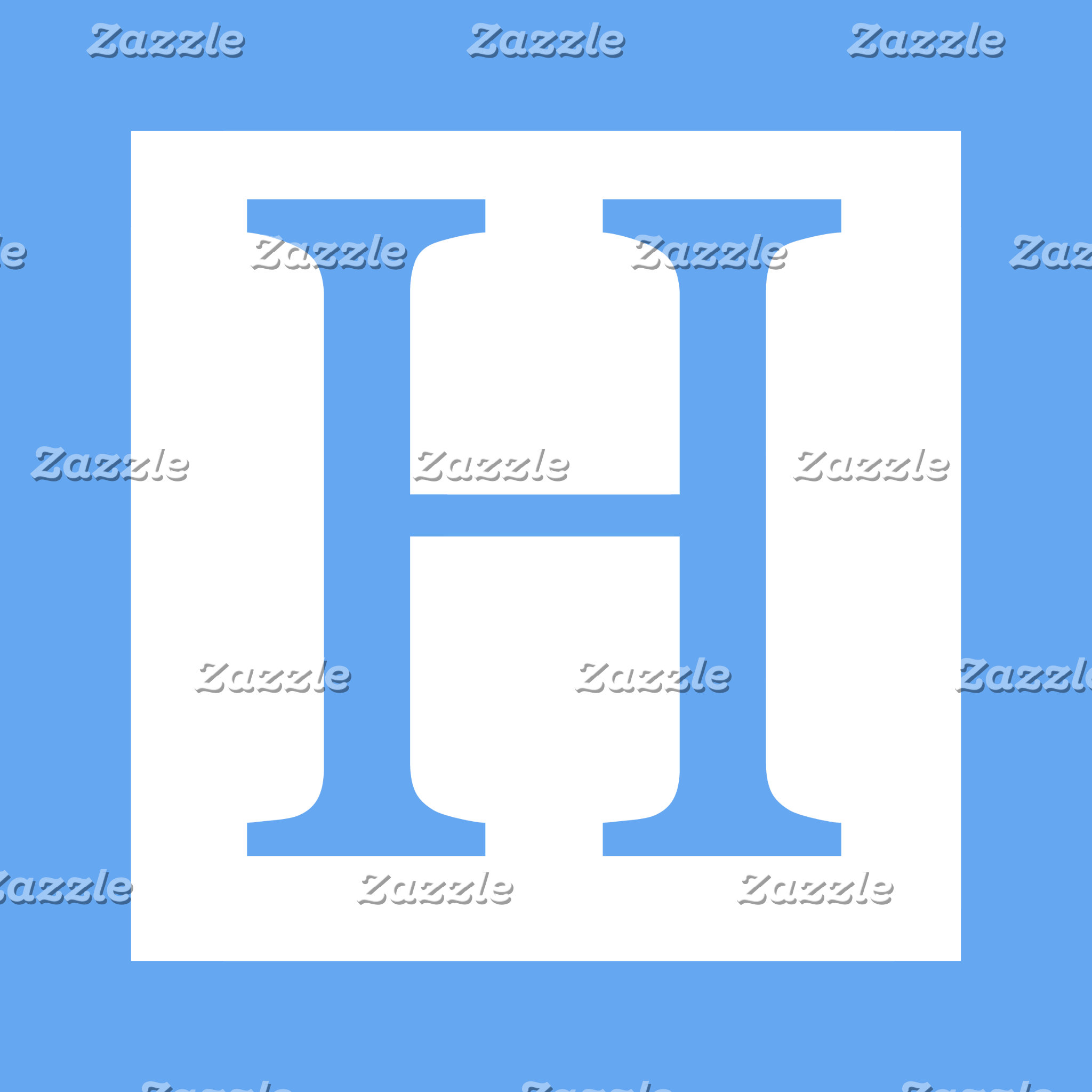 Baby Blue Border Elegant Monogram