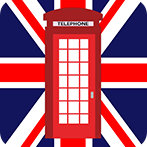 British phone box Union Jack flag