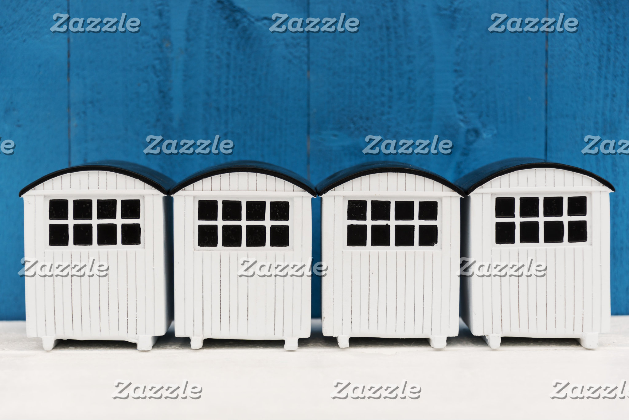 Beach cabins in white and blue