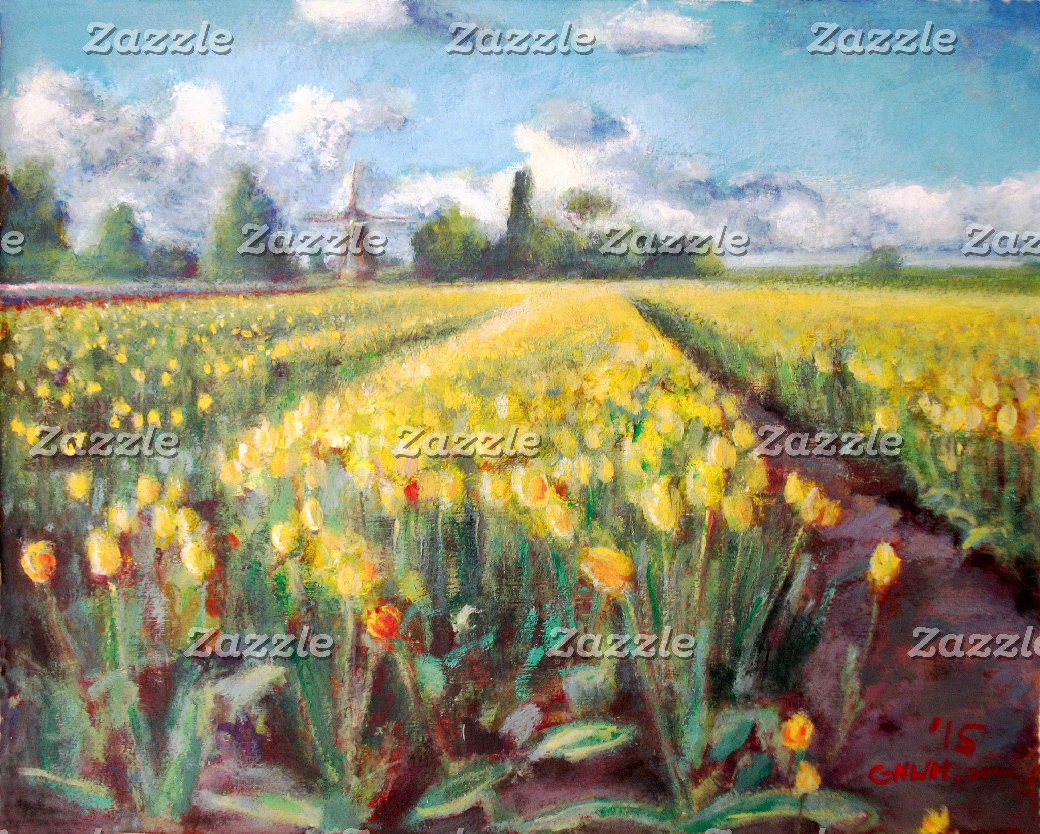 Yellow Spring Tulip Flowers Fields