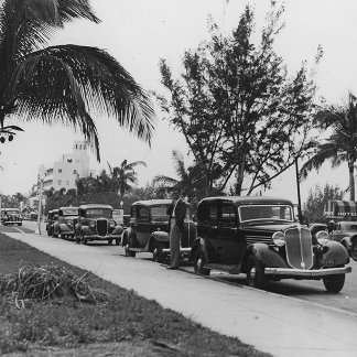 Circa 1930:  Cars parked  by a palm tree