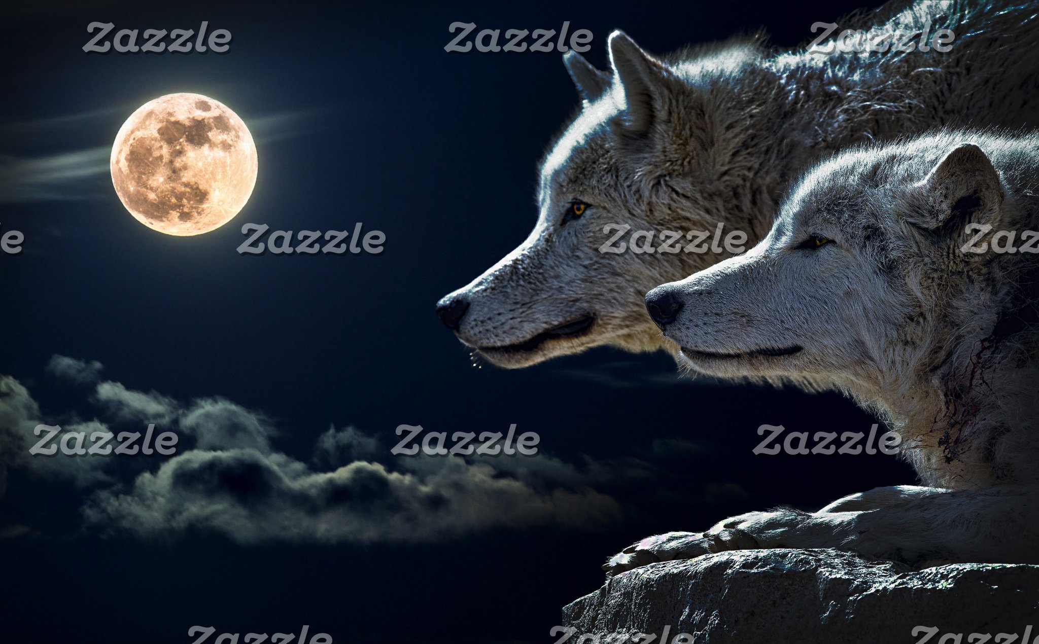 Wolf Wolves Howling at the Full Moon
