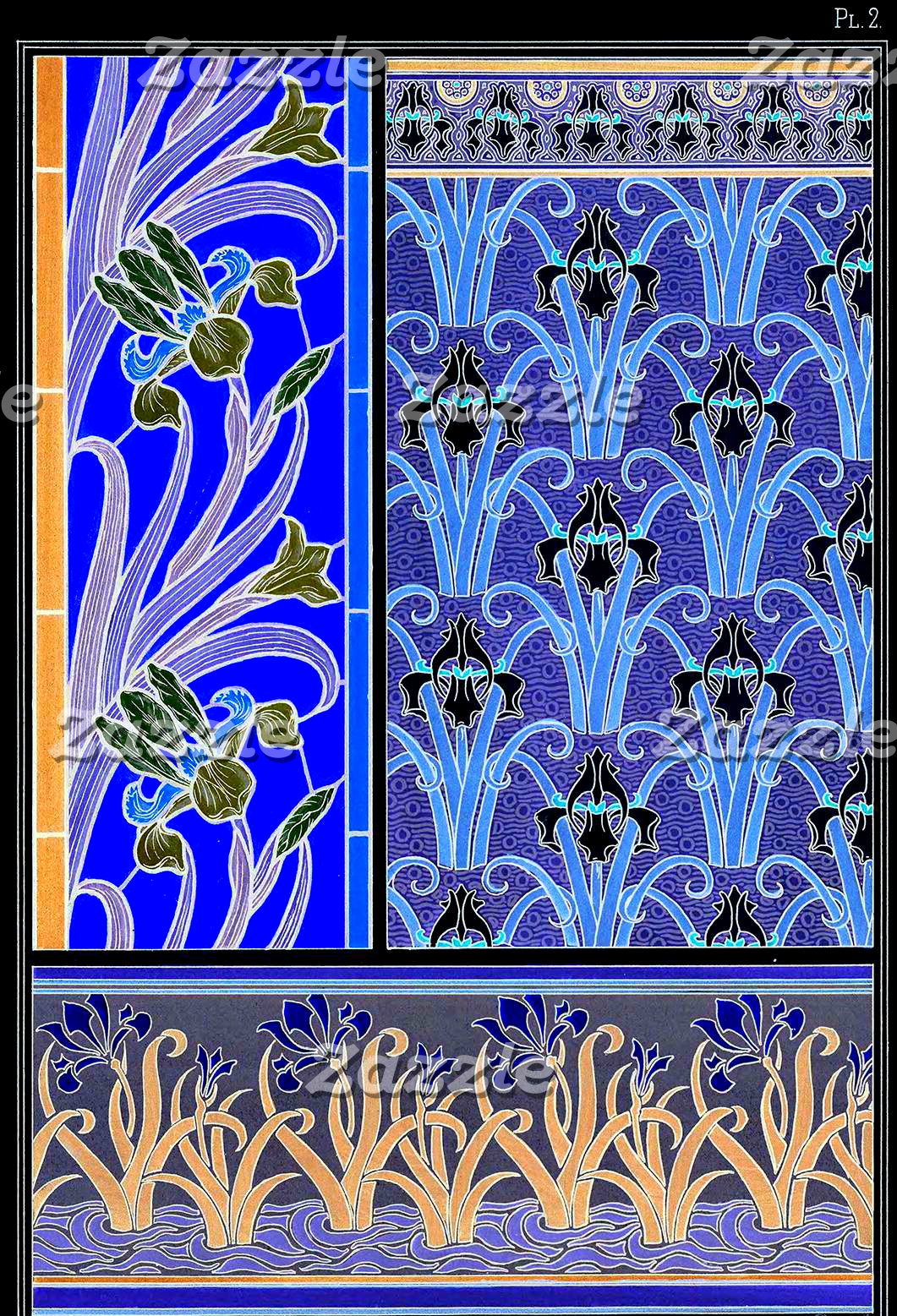 Art nouveau black and purple iris print