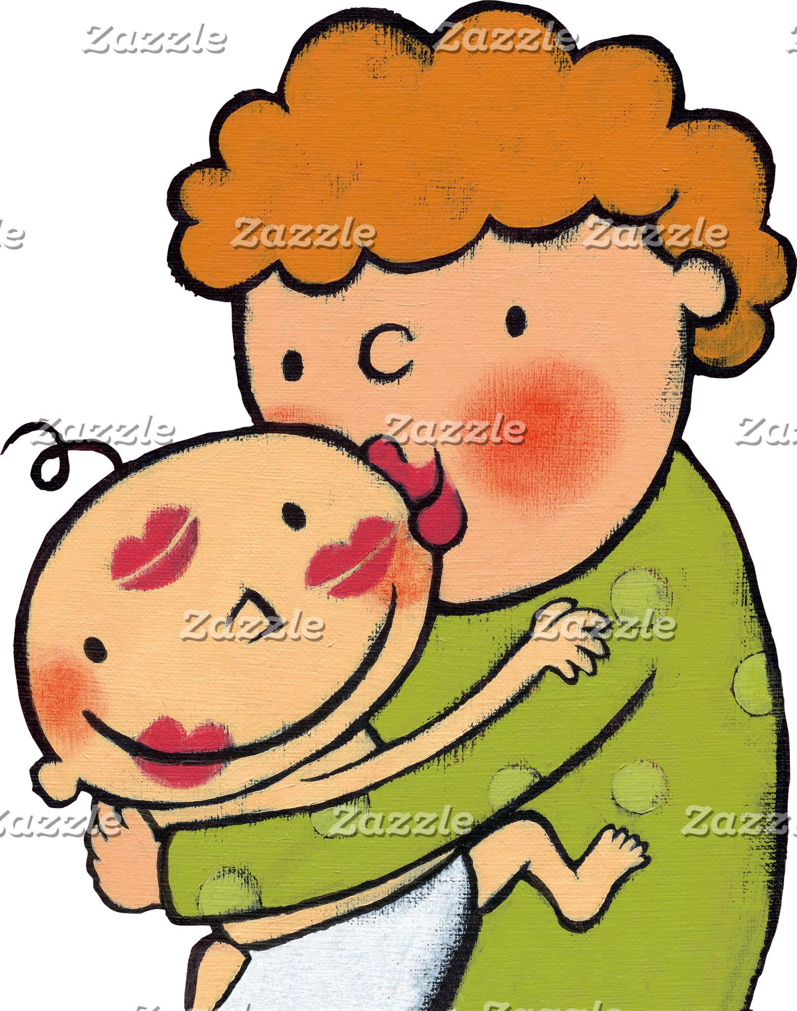 Grandma Pink Lipstick Kisses for Baby