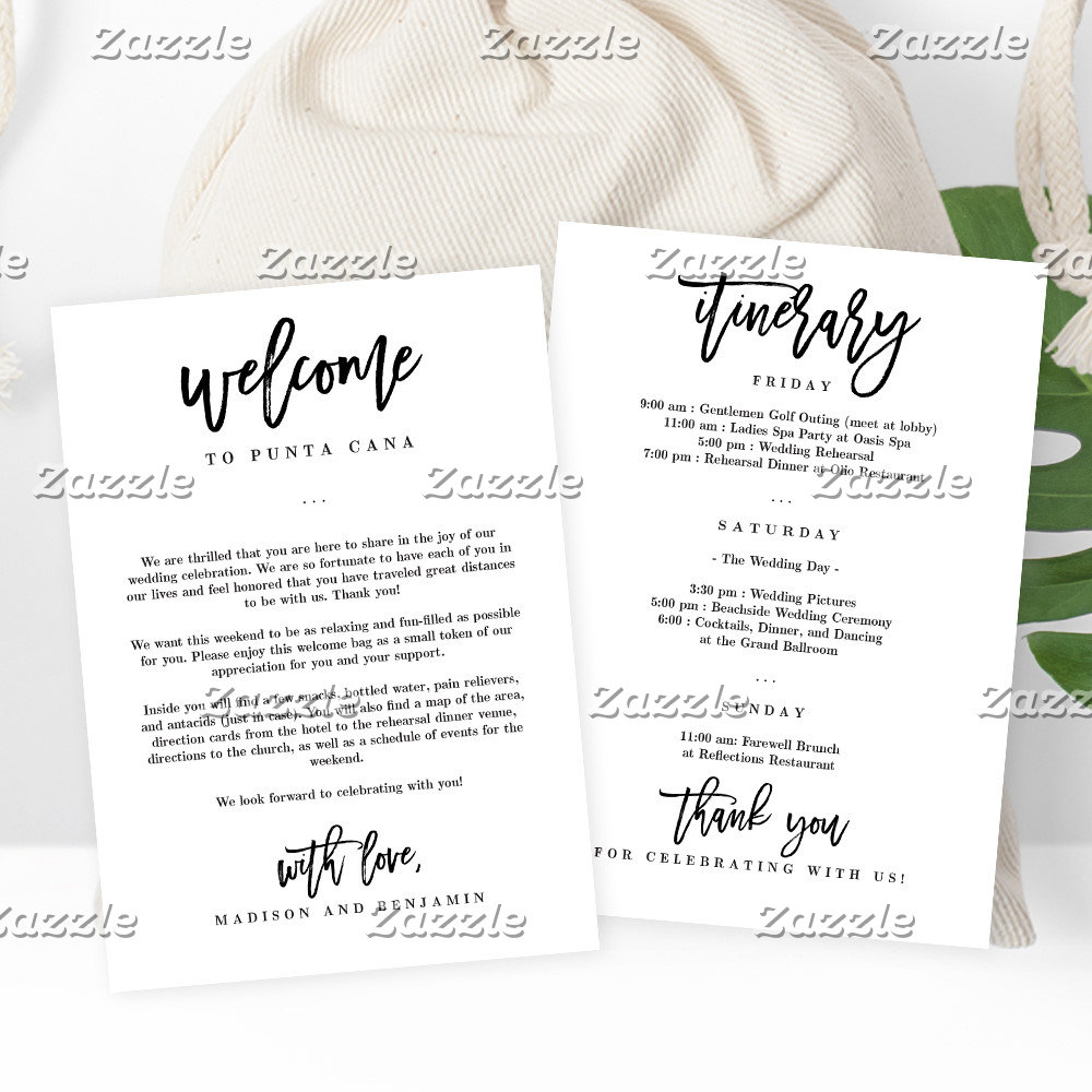 Welcome Letters + Itinerary Cards