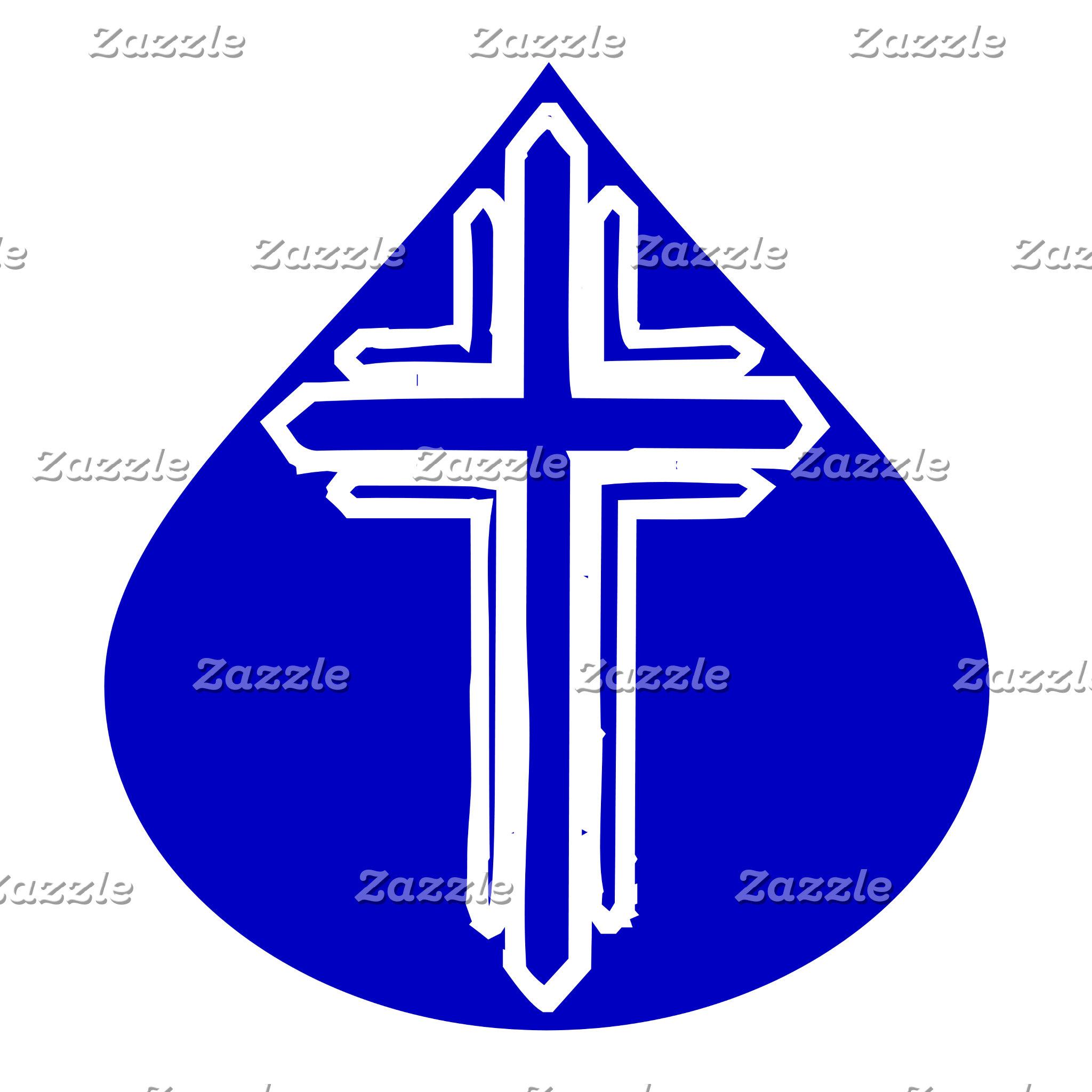 White Cross in Blue Teardrop