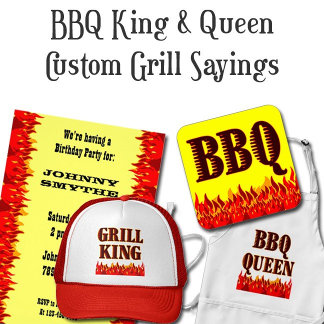 BBQ King and Queen Sayings with Red Flames